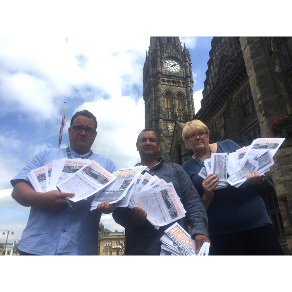 Dave Bamford, who started the petition with Councillors Andy Kelly and Irene Davidson at Rochdale Town Hall with their completed petitions