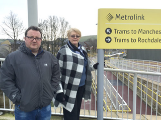 Councillor Kelly and Irene Davidson working to ensure a continued high-quality Metrolink service