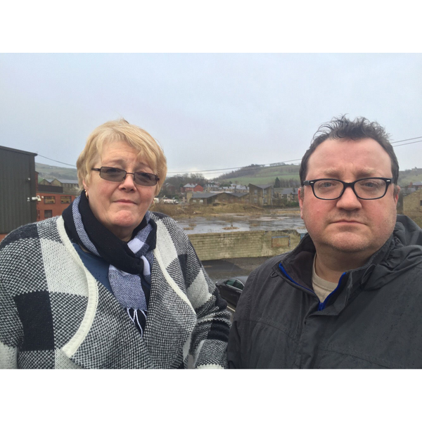 Irene and Andy at the Coral Mill site before the development