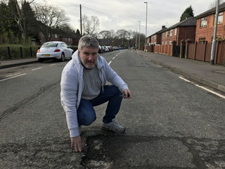 David Clayton is campaigning to fix Kingsway's broken roads