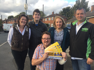 Jane Brophy campaigning with Councillor Andy Kelly and local Lib Dem members