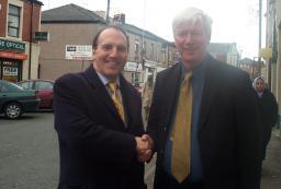 Cllr. Paul Rowen with Simon Hughes, the Lib Dem President on Milkstone Road.