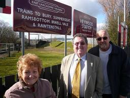 Councillor Doreen Brophy-Lee, Councillor Peter Rush and Councillor Malcolm Bruce outside Heywood Railway Station