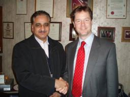 Councillor Zulf Ali alongside Leader of the Liberal Democrats Nick Clegg MP
