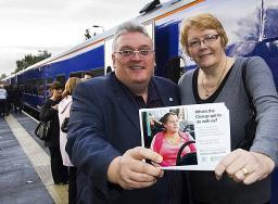 Information Station – Councillors Howard Sykes (Oldham) and Irene Davidson (Rochdale) launched the information campaign and spoke to commuters at Mills Hill station.