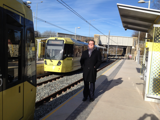 Cllr Andy Kelly with the new trams (Andy Kelly)