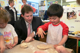 Nick Clegg at school lunch time