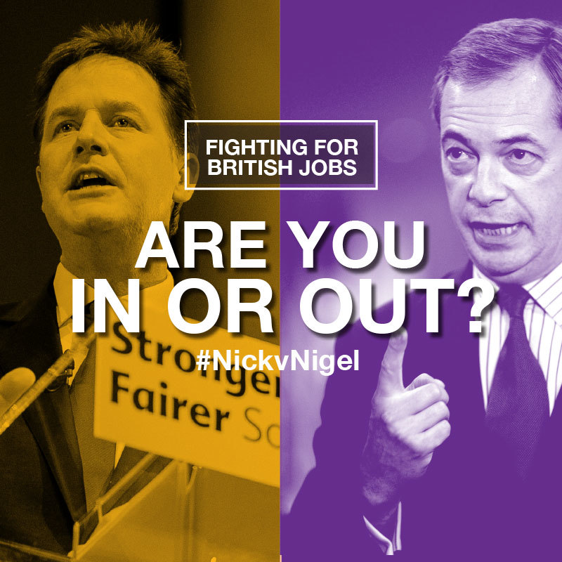 Nick Clegg v Nigel Farage Debate Challenge Graphic